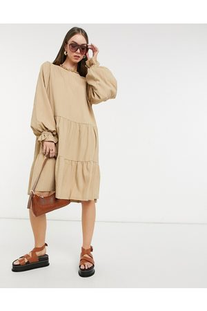 SELECTED Femme smock dress with tiering and volume sleeves in -Neutral