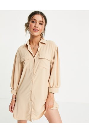 Lola May Blouson sleeve mini shirt dress in -Neutral