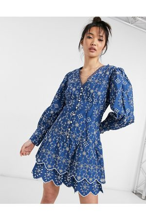 River Island Embroidered volume sleeve mini shirt dress in navy-Blues
