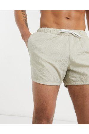 ASOS Swim shorts in stone seersucker short length-Neutral