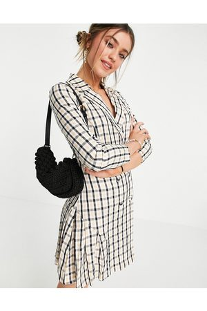 Lola May Double breasted blazer mini dress in grid print-Multi