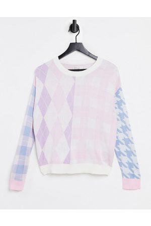 Gianni Feraud Crew neck sweater in mixed pastel check-Multi