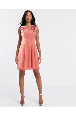 Little Mistress Fit and flare midi dress with floral embroidery in light coral