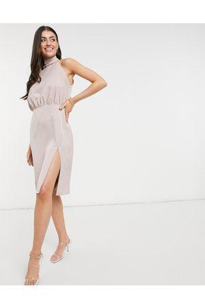 Vesper Halterneck midi dress in blush