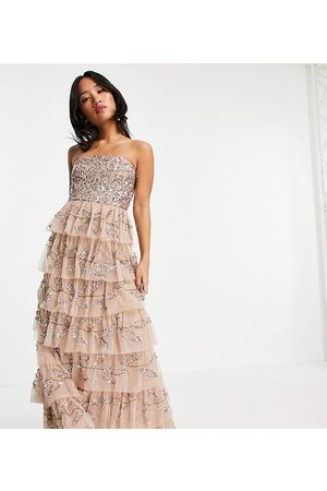 Maya Bandeau all over embellished tiered maxi dress in taupe blush
