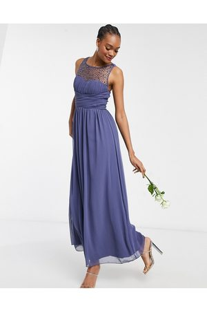 Little Mistress Bridesmaid chiffon maxi dress with pearl embellishment in lavender -Grey