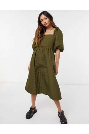 SELECTED Femme quilted midi dress with square neck in khaki