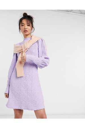 Y.A.S Textured mini swing dress with deep cuffs and high neck in lilac
