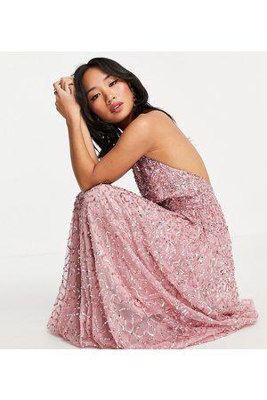 Maya Halterneck open back all over sequin maxi dress in rose