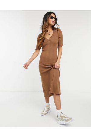 Fashion Union Lightweight wide rib knit midi dress with collar detail
