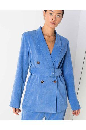 Daisy Street Belted blazer in corduroy-Blues