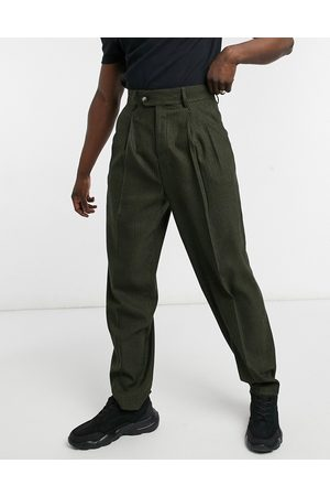 ASOS High waist slim wool-blend smart pant in tonal plaid