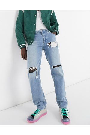 ASOS Original fit jeans in stone wash with heavy rips-Blues