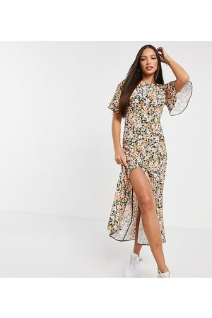 John Zack Exclusive fluted sleeve midi dress in multi floral