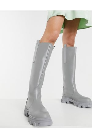 Public Desire Genius knee high chunky boots in -Grey