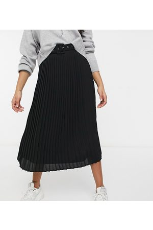 VILA High waisted pleated skirt with belt in