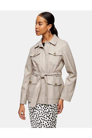 Topshop Tie waist faux leather jacket in ecru