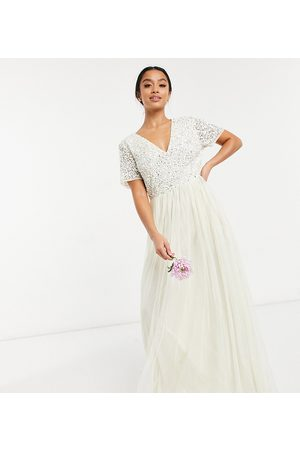 Maya Bridal v neck maxi tulle dress with tonal delicate sequin in ecru
