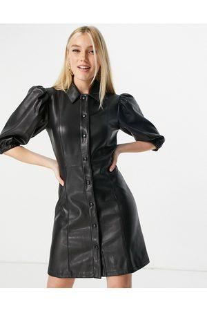 Lipsy London Puff sleeve leather-look mini dress in