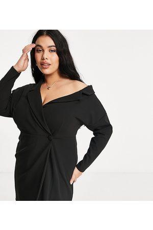 ASOS Curve fallen shoulder wrap shirt mini dress in