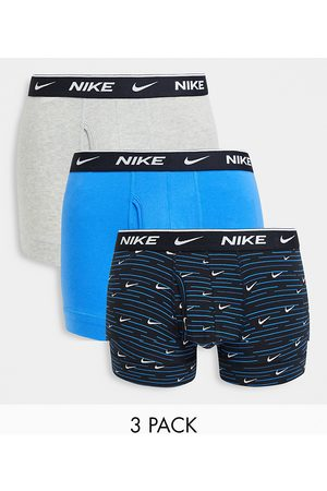 Nike Everyday Cotton Stretch 3 pack trunks with fly in navy/blue/gray-Multi