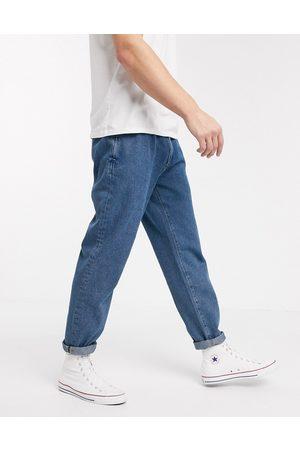 ASOS Double pleat jeans in light blue-Blues