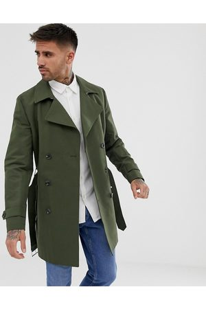 ASOS DESIGN Rain resistant double breasted trench coat in olive