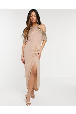 Virgos Embellished midi wrap dress with cold shoulder detail in blush