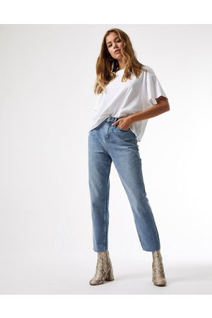 Miss Selfridge High waist slim leg jeans in mid wash blue-Blues