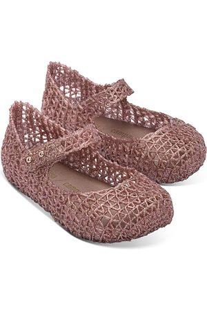 Mini Melissa Girls' Minicampap Glitter Zigzag Mary Jane Flats - Walker, Toddler