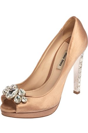 Miu Miu Women Platform Pumps - Satin Crystal Embellished Heel Peep Toe Platform Pumps Size 37