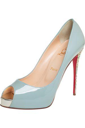 Christian Louboutin Women Platform Pumps - Patent Leather New Very Prive Glitter Heel Platform Pumps Size 40
