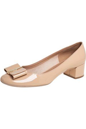 Salvatore Ferragamo Patent Leather Block Heel Pumps Size 40