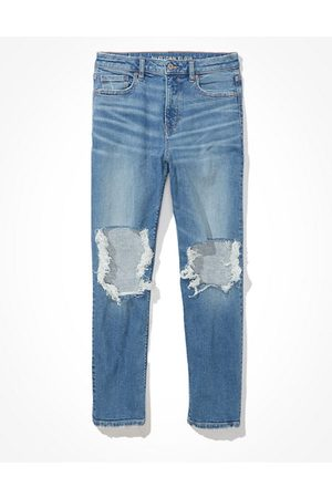 American Eagle Outfitters Women Stretch - Stretch Ripped Mom Jean Women's 2 Long