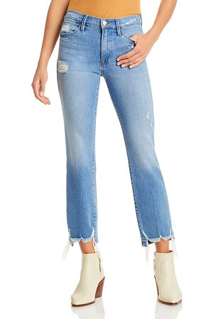 Frame Le High Straight Ankle Jeans in Laskey Rips