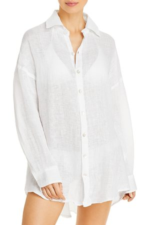 Vitamin A Playa Linen Shirt Dress Swim Cover-Up