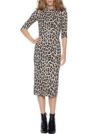 ALICE+OLIVIA Delora Leopard Print Fitted Dress