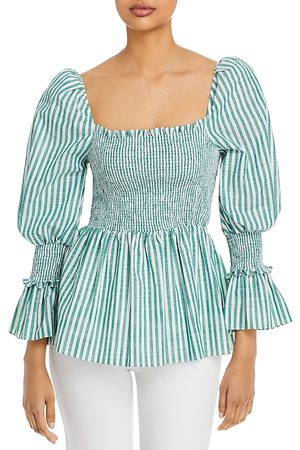 Cinq A Sept Adly Cotton Smocked Top