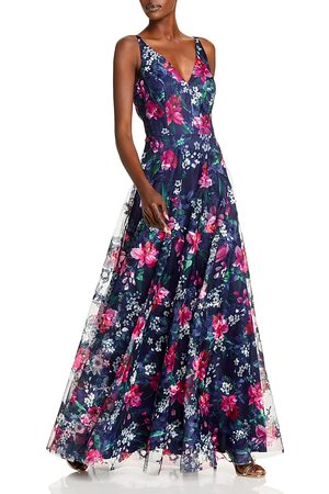 Eliza J Flowing Floral V Neck A Line Gown