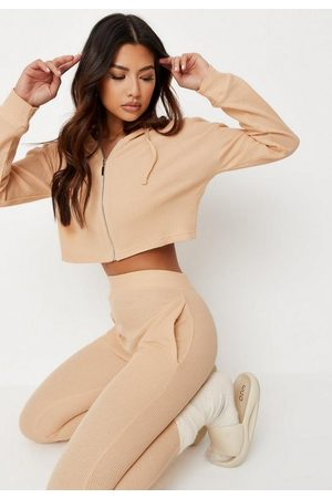 Missguided Camel Waffle Zip Cropped Hoodie And Joggers Loungewear Set