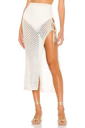 Camila Coelho Offshore Midi Skirt in Ivory.