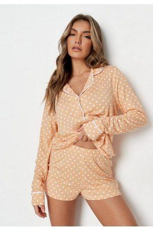 Missguided Peach Polka Dot Shirt And Shorts Pajama Set