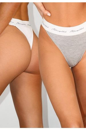 Missguided White And Gray Script Thong 2 Pack