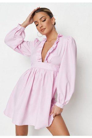 Missguided Women Party Dresses - Petite Pink Stripe Frill Plunge Mini Dress