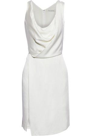 Halston Heritage Women Party Dresses - Woman Cutout Draped Satin Mini Dress Off- Size 4