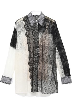 Victoria Beckham Women Long sleeves - Woman Paneled Cotton-blend Lace Shirt Size 2