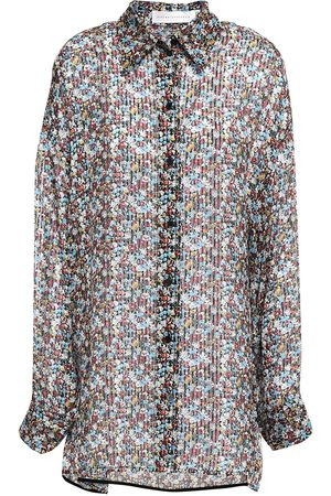 Victoria Beckham Woman Oversized Floral-print Metallic Silk-blend Chiffon Shirt Size 1