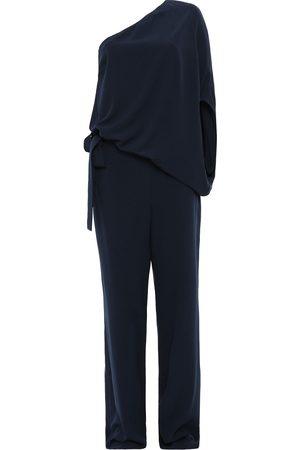 Halston Heritage Woman One-shoulder Draped Stretch-crepe Wide-leg Jumpsuit Navy Size 0