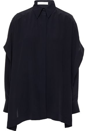 Victoria Beckham Woman Layered Silk Crepe De Chine Shirt Midnight Size 6