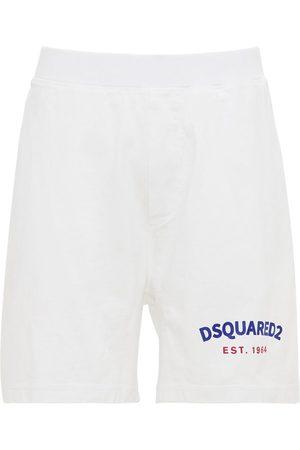 Dsquared2 Oversize Logo Print Cotton Jersey Shorts